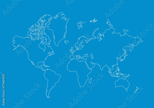 White world map outline graphic freehand drawing on blue background white world map outline graphic freehand drawing on blue background vector of asia europe gumiabroncs Choice Image