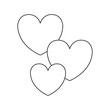 hearts icon over white background vector illustration
