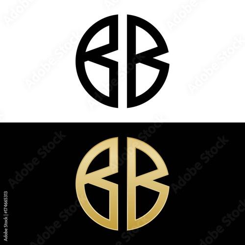 Photo bb initial logo circle shape vector black and gold