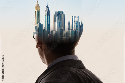 Double Exposure Of Businessman And Adult Man In Suit