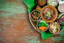 Tradition Northern Thai Food. Thai Cuisine Chili Sauce, Thai Sausages , Deep Fried Pork Skin, Steamed Whole Grain Traditional. Thai Food Concept