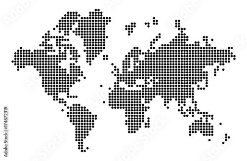 World map silhouette. World map in dots. – kaufen Sie diese ...