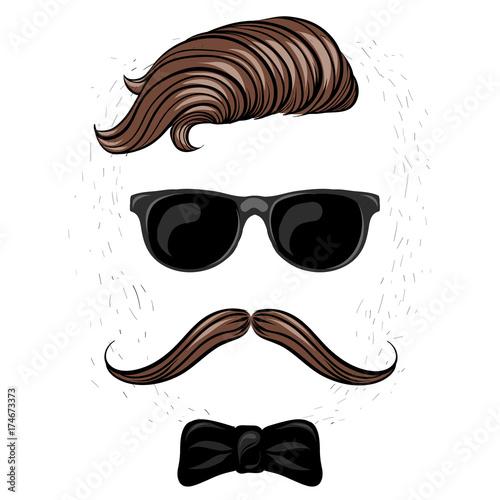 Fototapeta Modna fryzura i okulary. Hipster