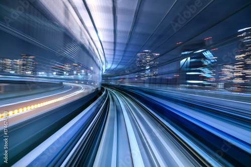 In de dag Centraal Europa Motion blur of train moving inside tunnel in Tokyo, Japan