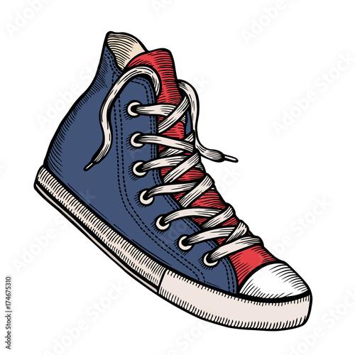 blue sneakers and ink spots. Fototapeta