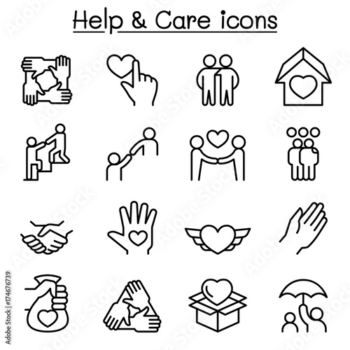 Photo  Help, care, Friendship, Generous & Charity icon set in thin line style