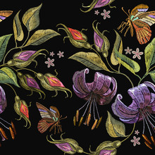 Embroidery Tiger Lillies And Butterfly Seamless Pattern. Beautiful Tiger Lillies Classical Embroidery On Black Background. Template For Clothes, Textiles, T-shirt Design