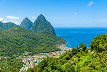 Gros And Petit Pitons Near Vil...