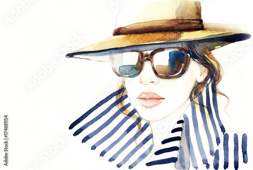 Poster Aquarel Gezicht Woman in coat. Fashion illustration. Beautiful woman