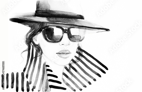 Recess Fitting Watercolor Face Woman in coat. Fashion illustration. Beautiful woman
