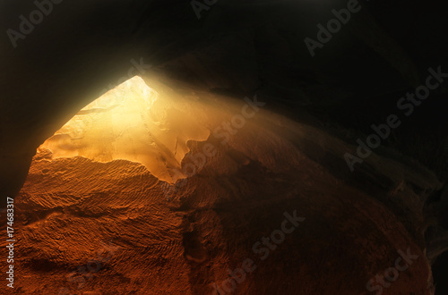 Abstract and surrealistic image of cave with light Fototapeta
