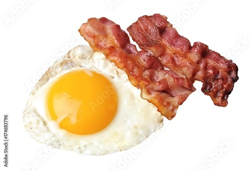 Keuken foto achterwand Gebakken Eieren Fried eggs and bacon . Breakfast