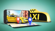 Ordering a taxi cab online internet service transportation concept navigation pin pointer with checker pattern and yellow taxi and phone 3d render on green