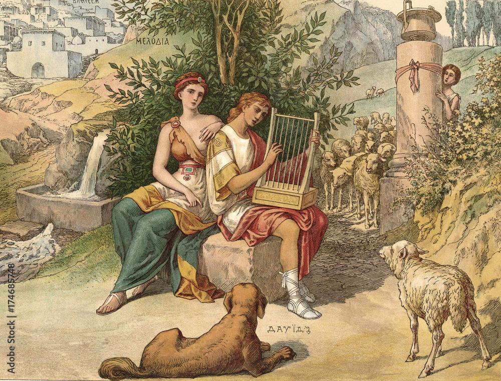 Fototapety, obrazy: The singing of Psalms by king David.