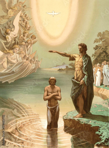 Tableau sur Toile The baptism of Jesus Christ.