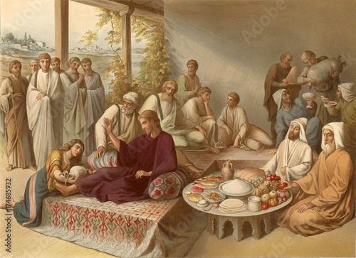 Fototapeta  Washing feet Jesus a sinner.