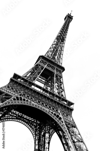 Tour Eiffel in black and white silhouetted against a plain white background. #174685997