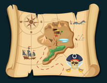 Old Treasure Map For Pirate Ad...