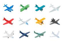 Type Of Plane Icon Set, Isometric Style