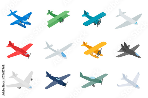 Fotografía  Type of plane icon set, isometric style