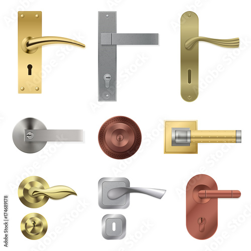 Obraz Door Handle Realistic Set - fototapety do salonu