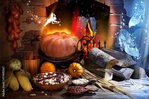Fotografía  Still Life Art Assembly Editing Cinderella Pumpkin Fairy Fireplace Firewood Fire