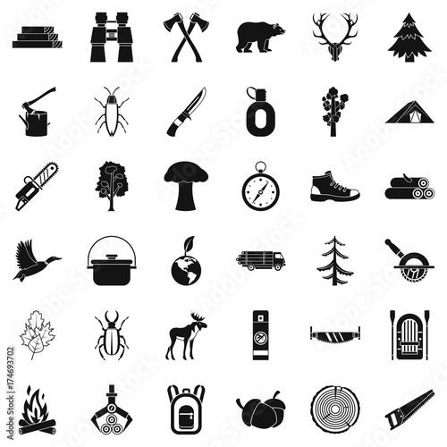 Fototapeta Bear icons set, simple style obraz na płótnie