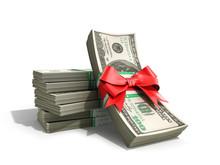 Concept Of Money Deposite Bonus Stack Of Dollar Bills Cash With Red Bow 3d Render On White Back Ground