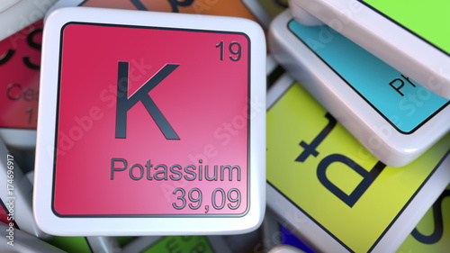 Potassium Block On The Pile Of Periodic Table Of The Chemical