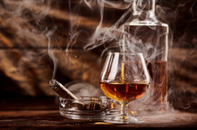 Glass Of Cognac Or Brandy With...