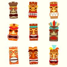 Tiki Mask Icon Set