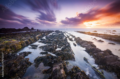 Fotografie, Obraz Sunset at Widemouth Bay, Cornwall