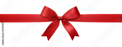 Obraz Red ribbon with bow isolated on white background. - fototapety do salonu