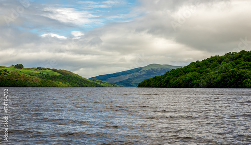 A view to Loch Tay lake waters and surrounding hills from the boat