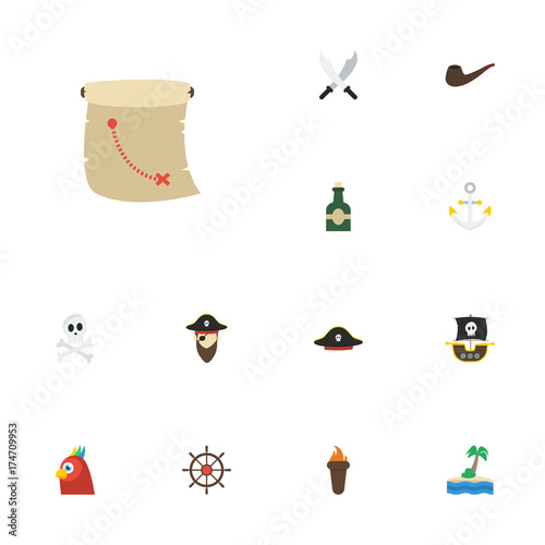 782f9f48 Flat Icons Palm, Pirate Hat, Ship Steering Wheel And Other Vector Elements.  Set Of Pirate Flat Icons Symbols Also Includes Palm, Tobacco, Anchor .