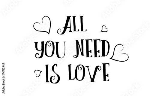 Photo  all you need is love quote logo greeting card poster design