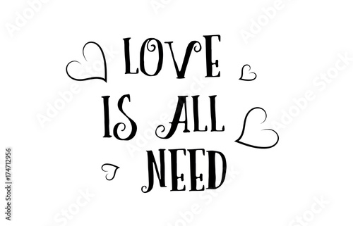 Photo  love is all you need quote logo greeting card poster design