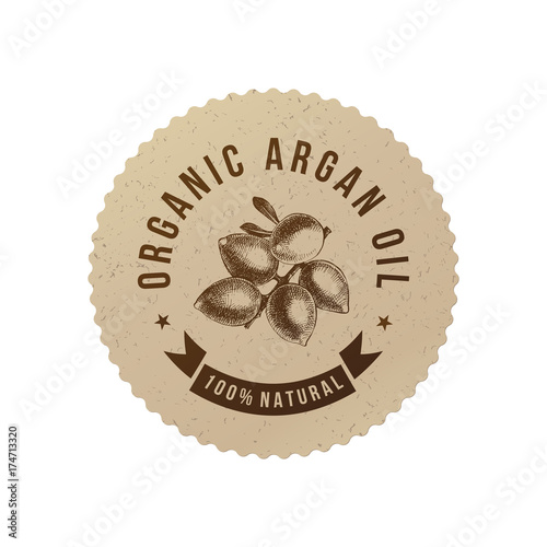 Organic argan oil emblem Canvas Print