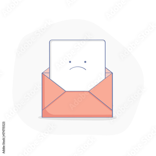 cute upset open envelope with letter bad news red mail warning letter