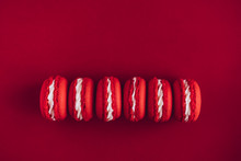 Red And White Macarons On Red ...