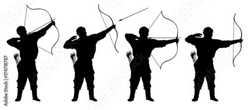 Photo archer, bowman silhouette set vector