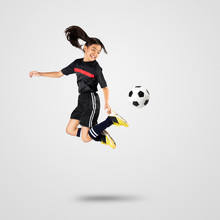 Young Asian Girl Soccer Player...