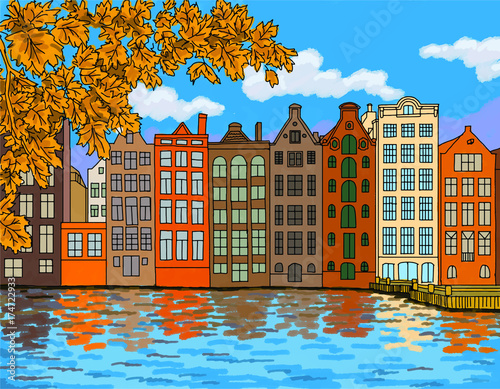 Photo  Amsterdam vector illustration - travel theme