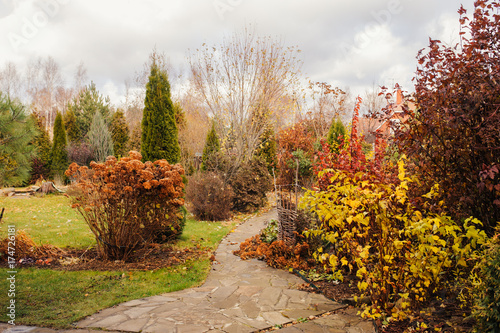 Fotobehang Tuin late autumn private garden view with stone pathway and dried hydrangea