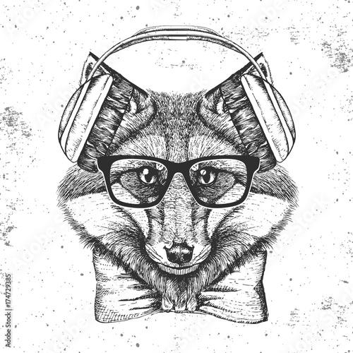 Photo sur Toile Croquis dessinés à la main des animaux Hipster animal fox. Hand drawing Muzzle of animal fox