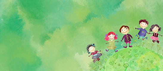 Fototapeta samoprzylepna Happy children bacground. Watercolor on canvas