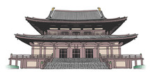 Isolated Drawing Of Japanese Style Buddhist Temple In Color