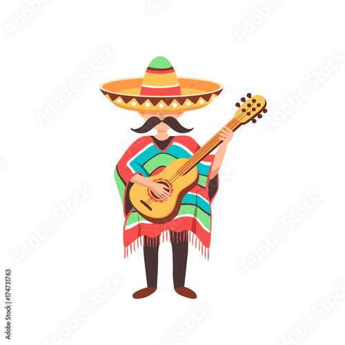 Foto op Canvas Piraten Mexican musician playing on guitar in sombrero and poncho. Mexican guy with mastaches in national costume isolated on white background.