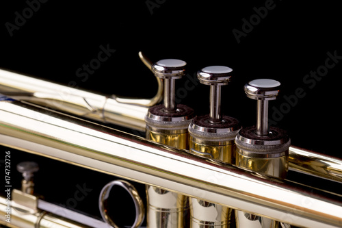 Zdjęcie XXL Zamyka w górę wizerunku mosiężna trąbka