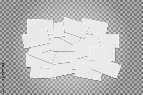 Fotografia, Obraz  Vector realistic isolated business cards on the transparent background